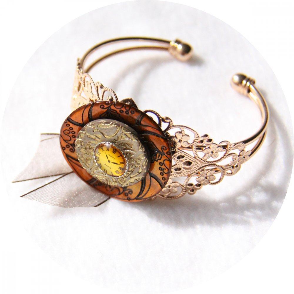 Bracelet rigide boutons Steampunk doré--2226194301275