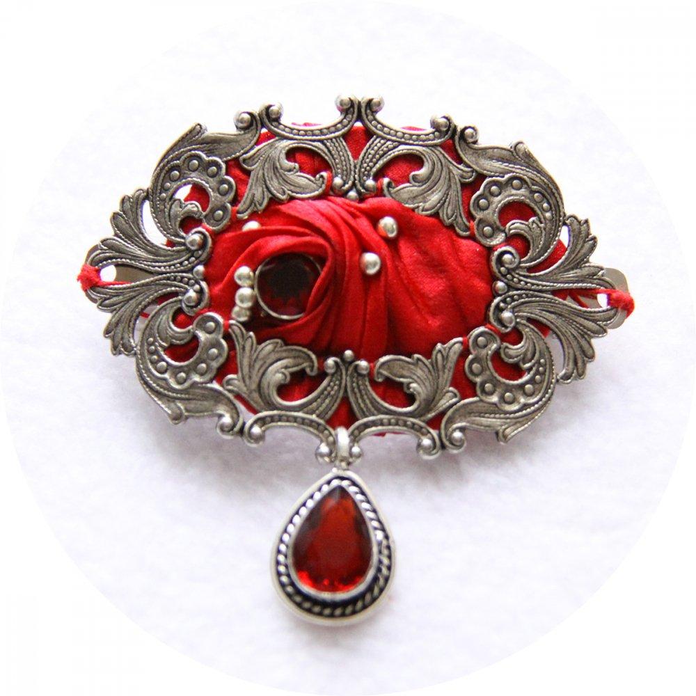 Barrette ovale en ruban de soie shibori rouge brodée et cadre argenté 5cm--9996131146902