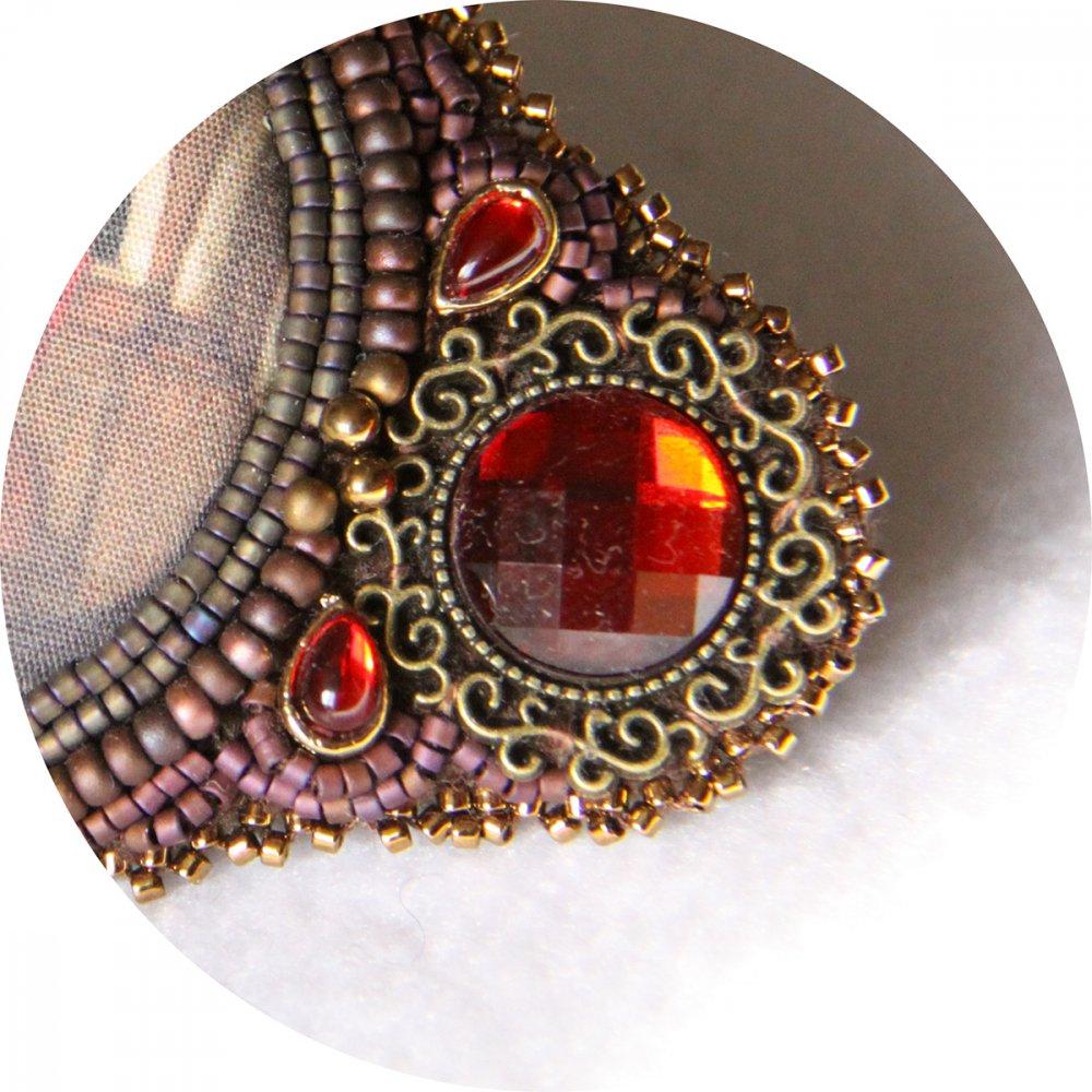 Barrette Boule de Cristal bordeau et bronze brodée de perles 7cm--2226170006880