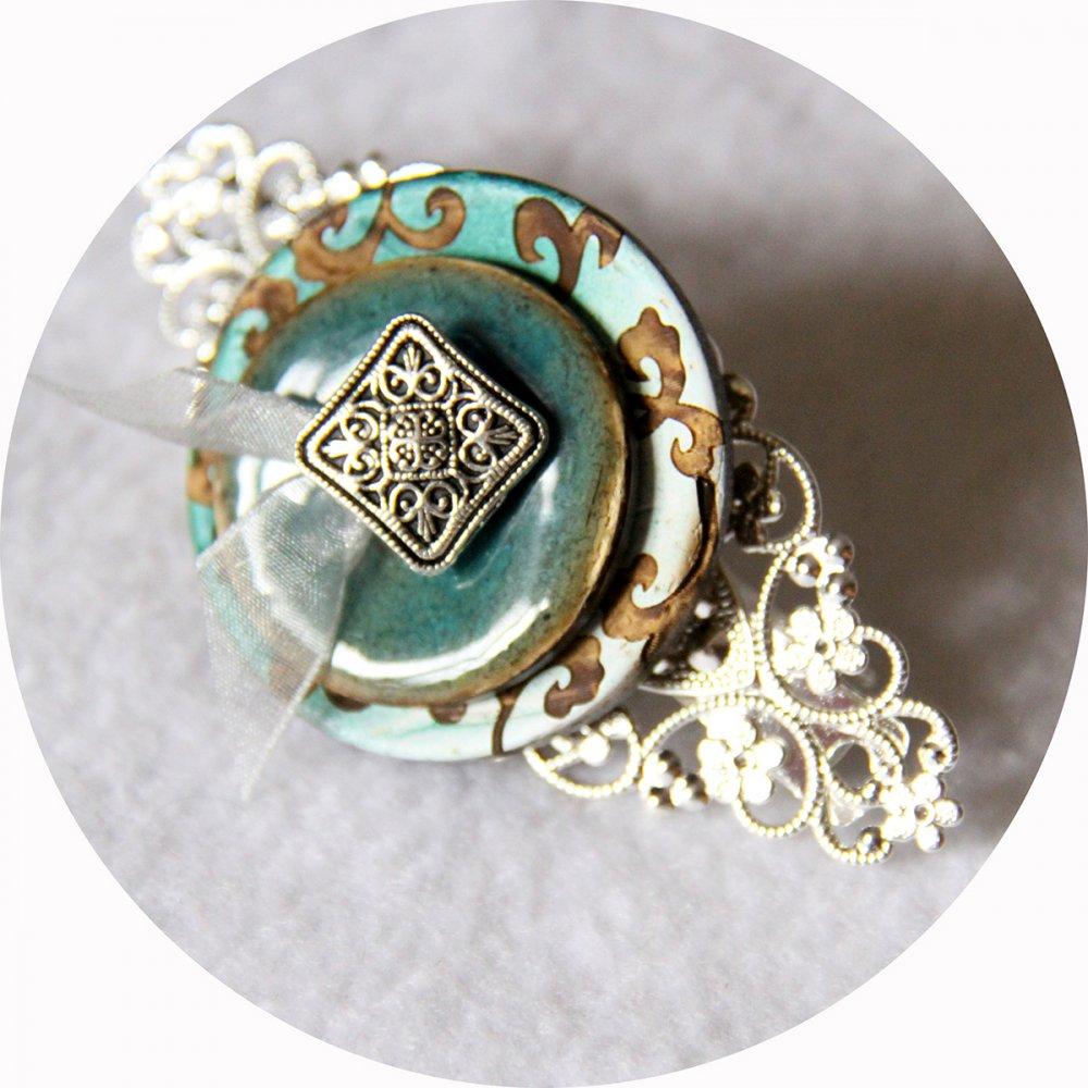 Barrette boutons vert et argent longueur 8cm--2226284191250