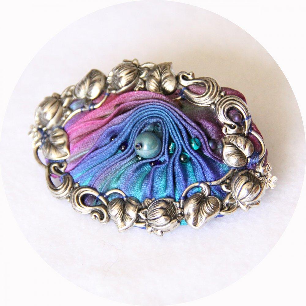 Barrette ovale en ruban de soie shibori bleu et mauve brodée et cadre argenté 5cm--2226284182005