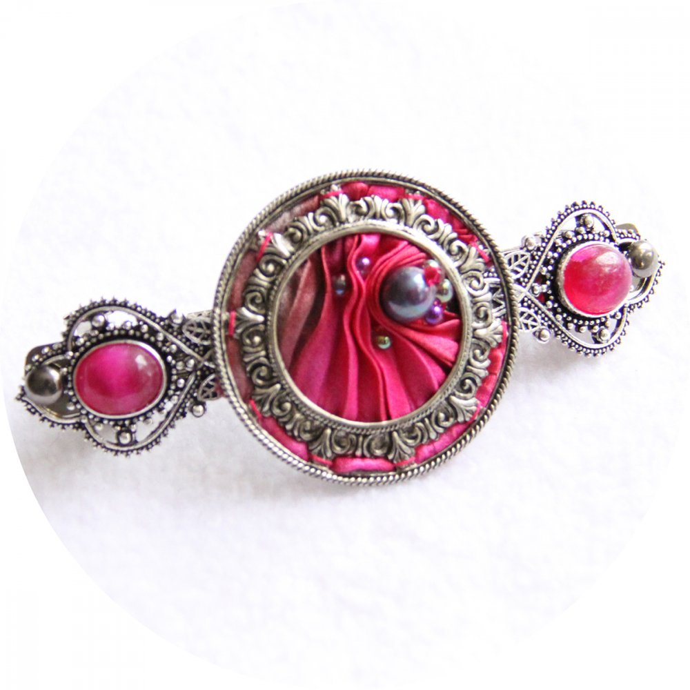 Barrette en ruban de soie shibori rose brodée et cadre argenté victorien 7cm--9996131176961