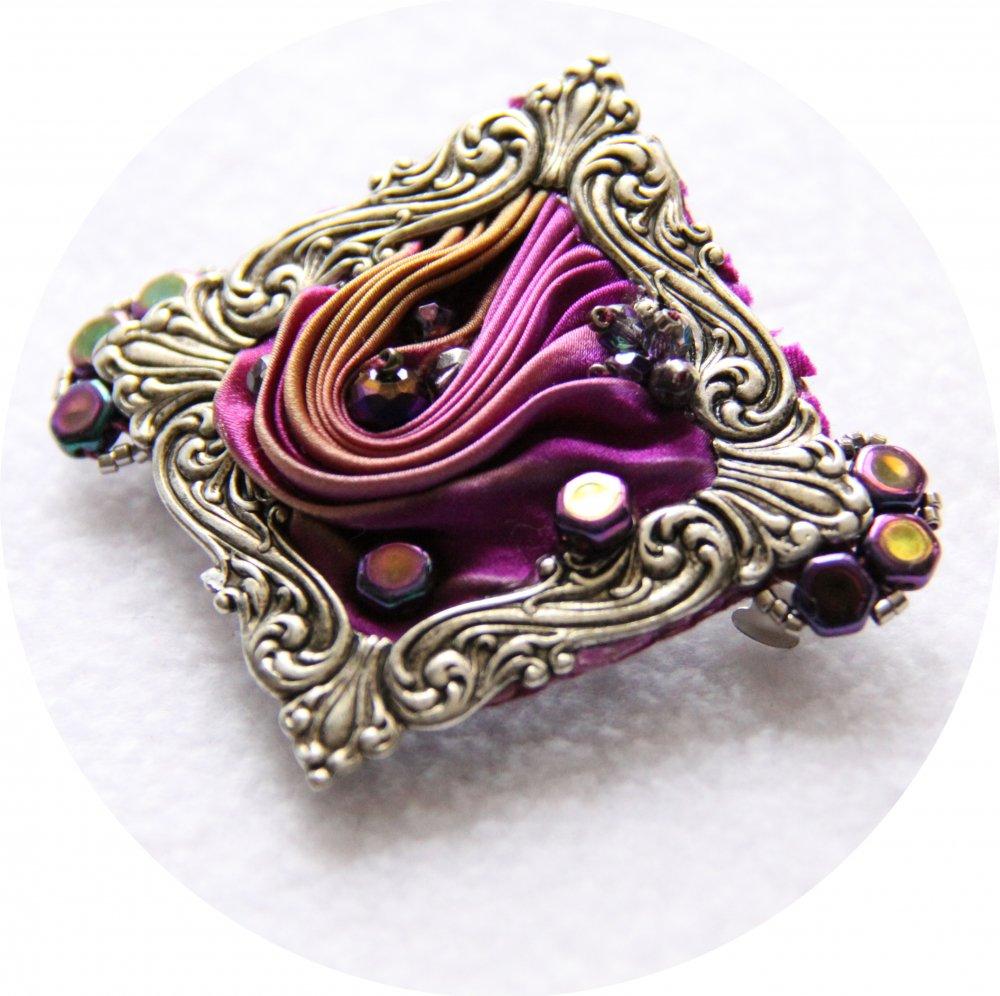 Barrette en ruban de soie shibori violet mauve brodée et cadre argenté victorien 5cm--9996131166429