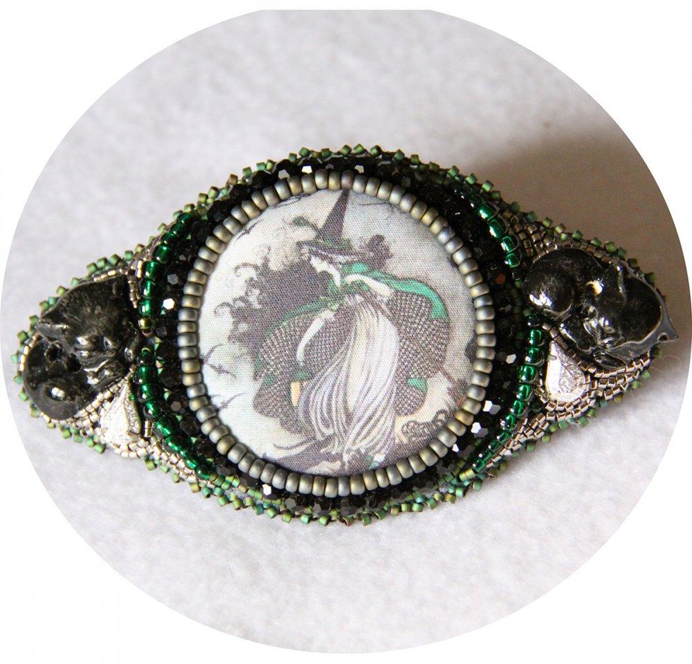 Barrette Sorcière et chats noire et verte brodée de perles 7cm--2226170000048