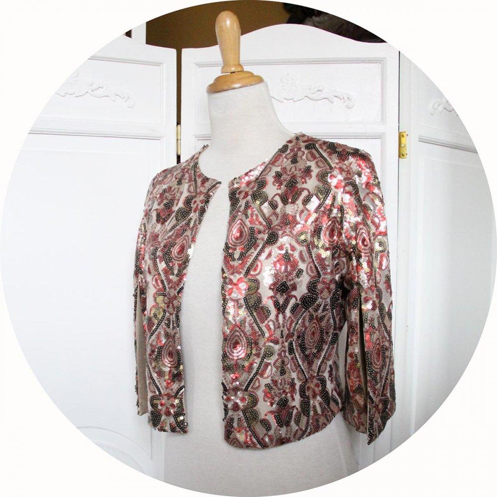Boléro court à paillettes rouge et bronze doublure dorée en tulle brodé de sequins--9995676707067