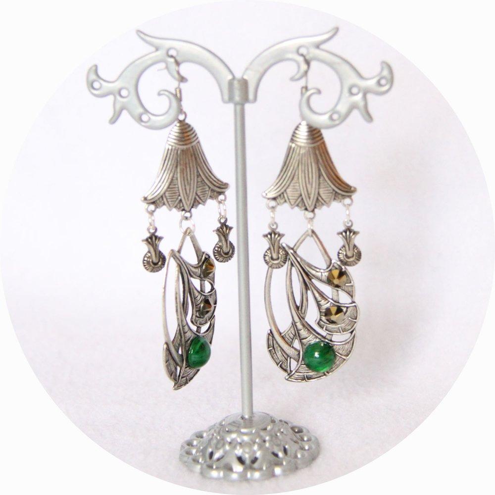 Boucles d'oreille fleur de lotus argent et verre vintage vert--9995968801466