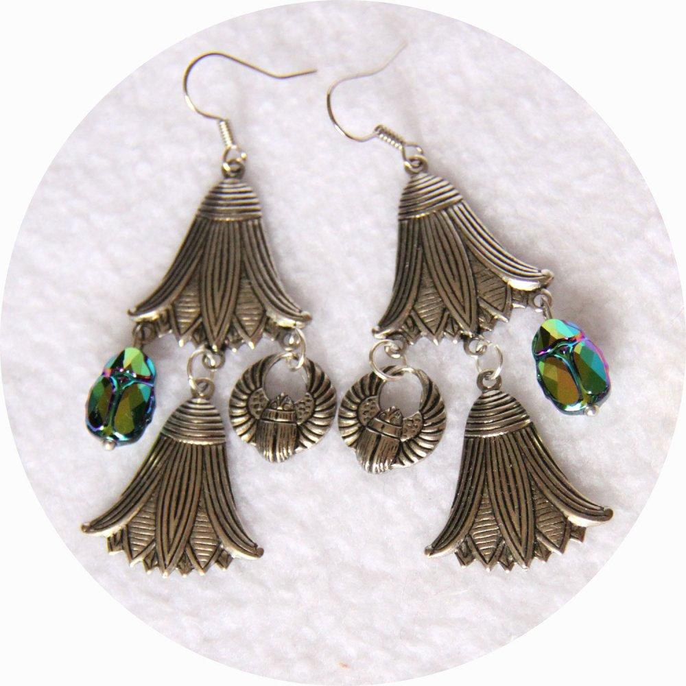 Boucles d'oreille Scarabée et fleur de lotus argent et cristal Swarovski--9995968792870