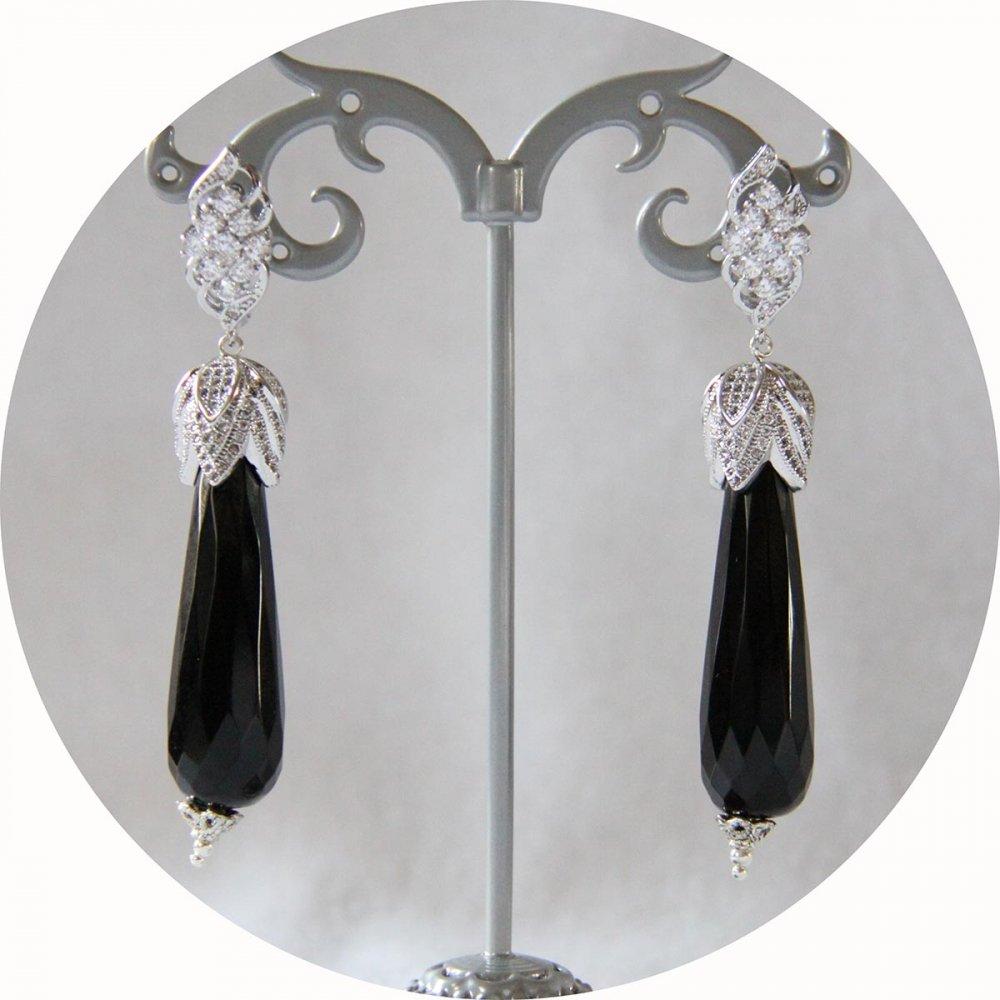 Boucles d'oreilles baroques grande goutte noires et attaches dormeuses argentées strassées--9995541973887
