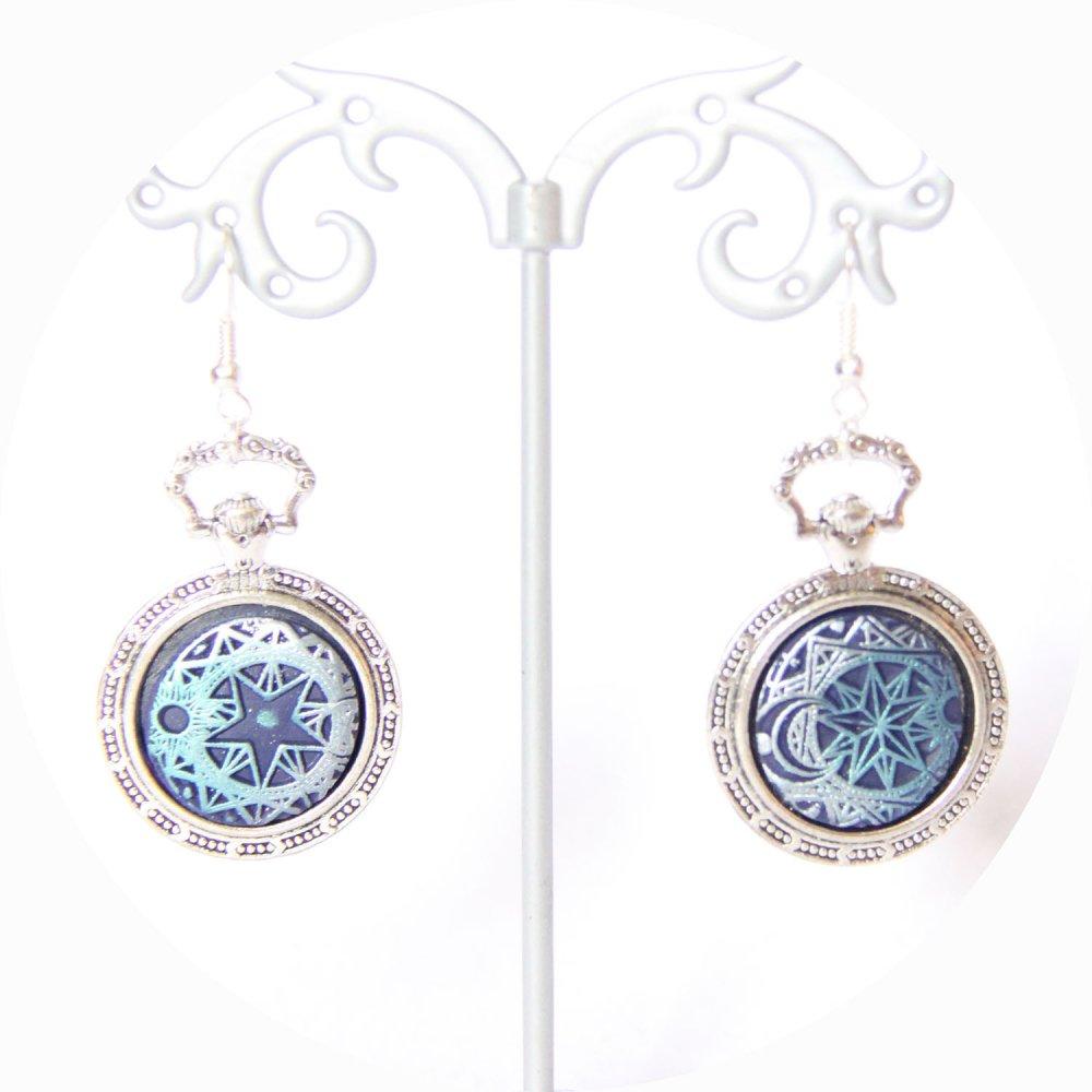 Boucles d'oreilles bleu et argent Steampunk l'Alchimiste--9996055570333