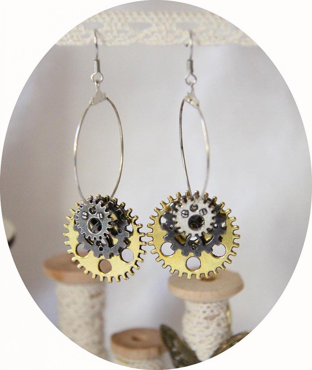 Boucles d'oreilles créoles Steampunk rouages doré, gunmetal et argent--9995540626982