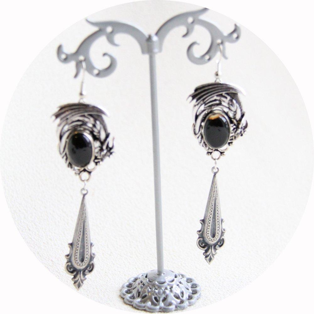 Boucles d'oreilles Dragon argent et pierre noire à breloque baroque inspirées par Daenerys dans Game of Thrones--9995849942936