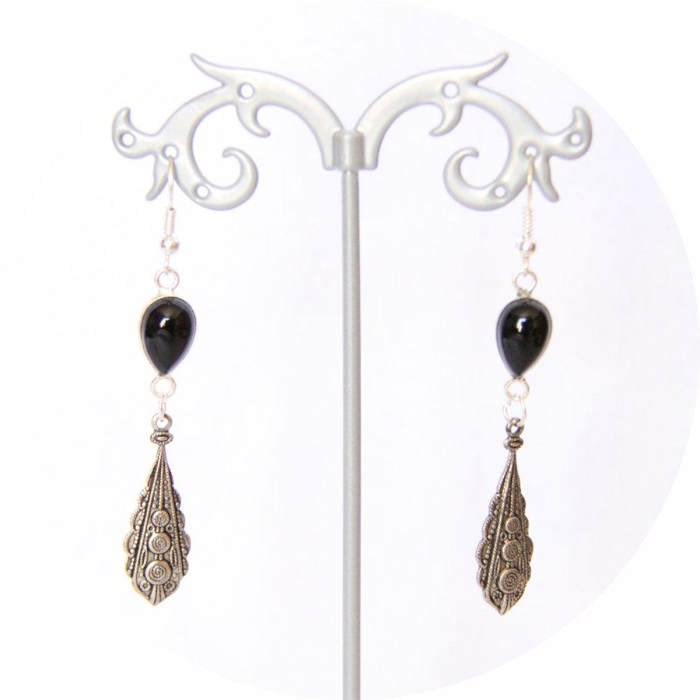 Boucles d'oreilles goutte noire et pampille argentée--9996055610480