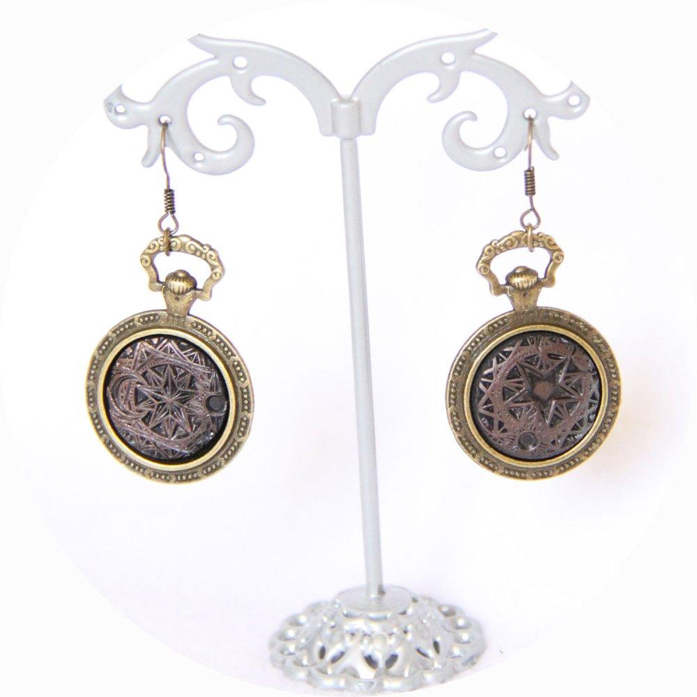 Boucles d'oreilles noir et bronze Steampunk l'Alchimiste--9996055581742