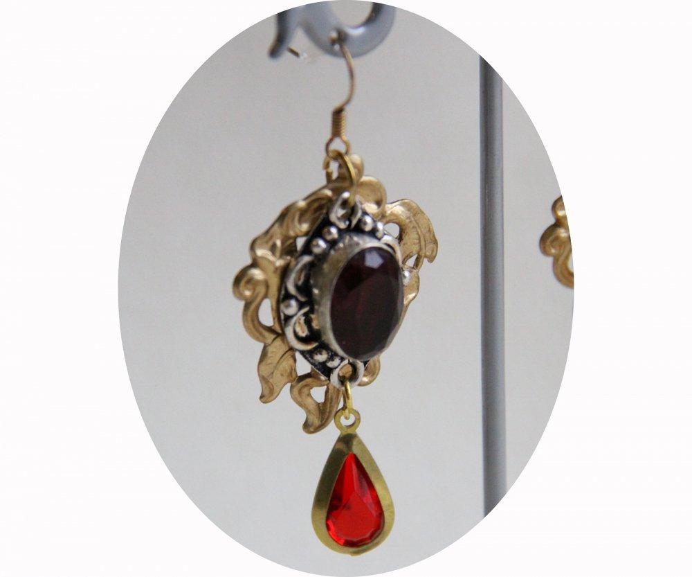 Boucles d'oreilles pendantes Art Nouveau rouge rubis et estampe en laiton doré lys--9995849939448