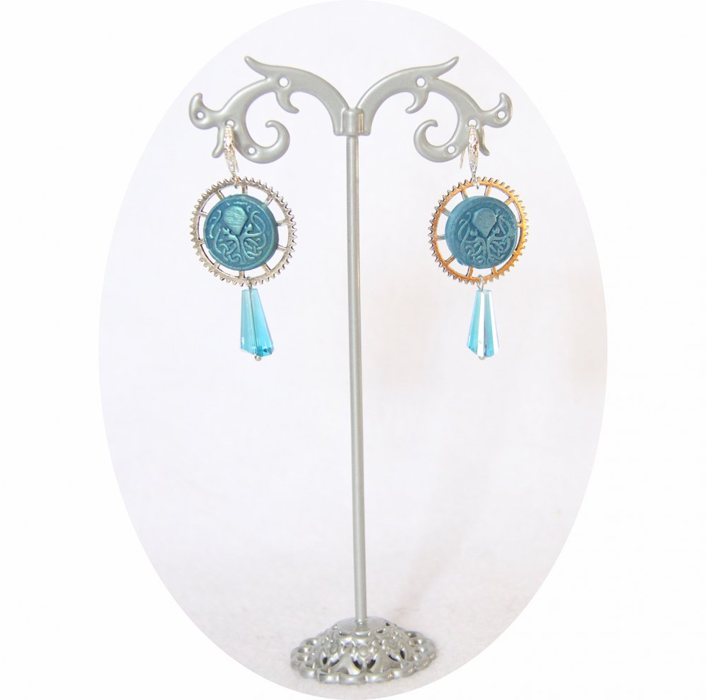 Boucles d'oreilles pendantes Steampunk thème mini Cthulhu bleu et argent goutte--9995868073260