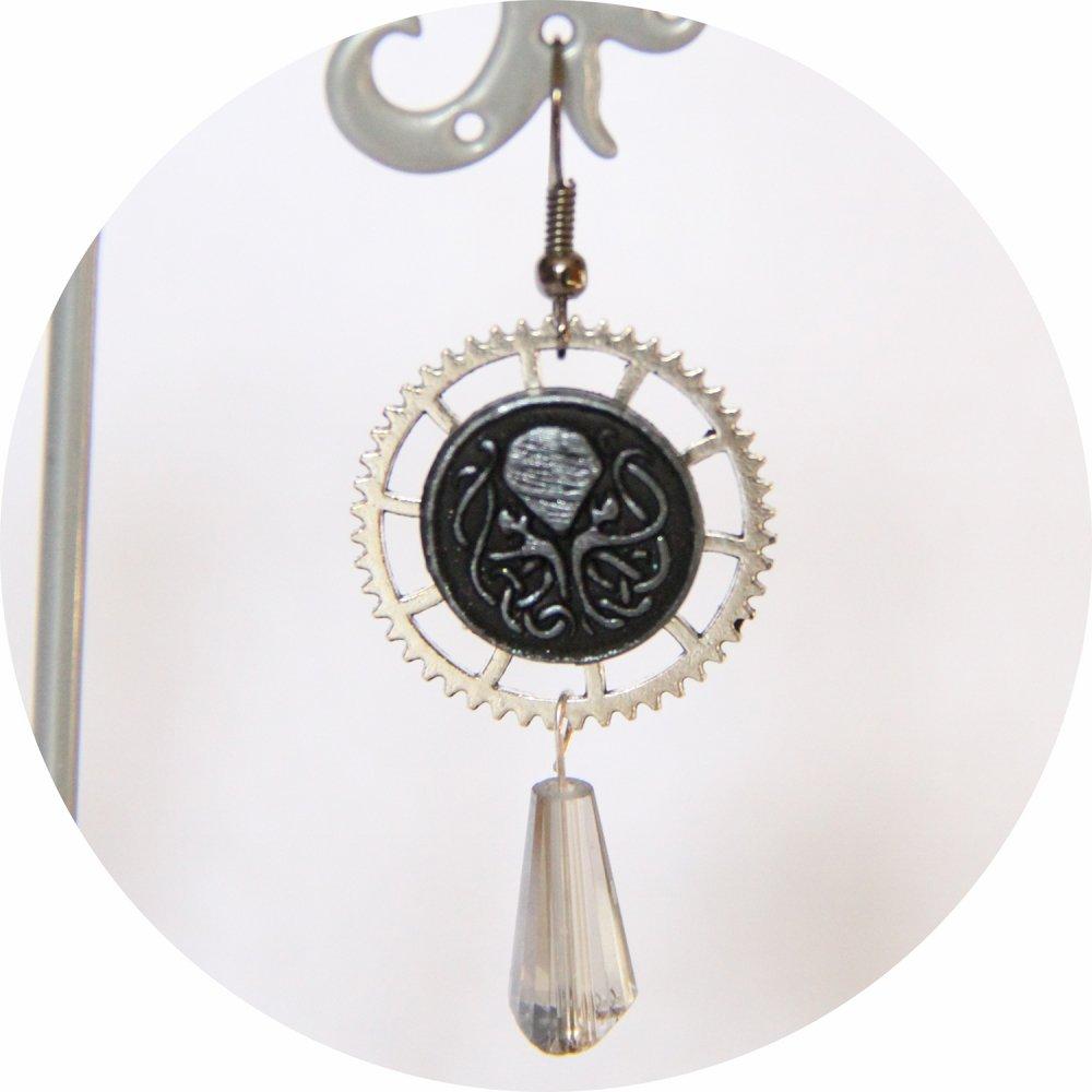Boucles d'oreilles pendantes Steampunk thème mini Cthulhu noir et argent goutte--9995868085362