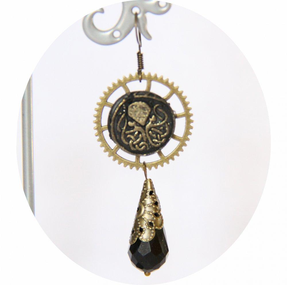 Boucles d'oreilles pendantes Steampunk thème mini Cthulhu noir et bronze goutte--9995868099246