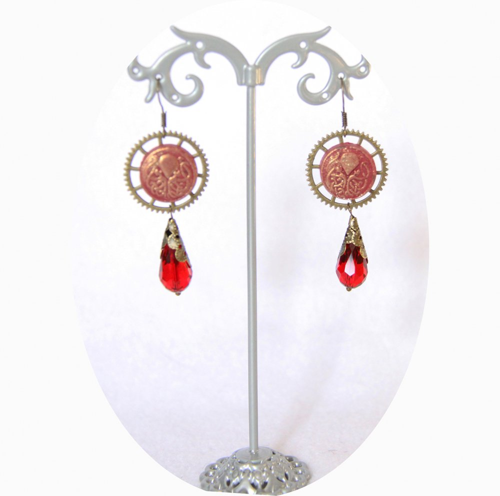 Boucles d'oreilles pendantes Steampunk thème mini Cthulhu rouge et bronze goutte--9995868102038