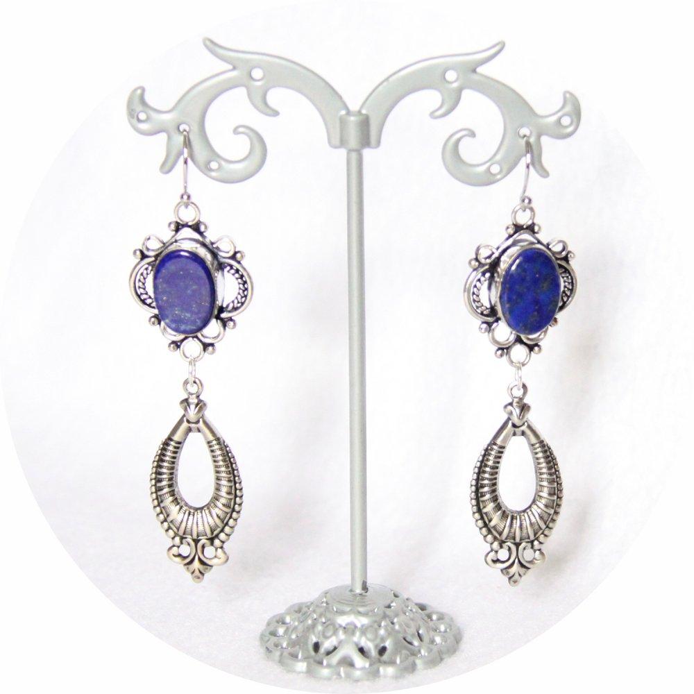 Boucles d'oreilles rétro baroque bleue en lapis lazuli avec pampille art déco argentée--9995848756695