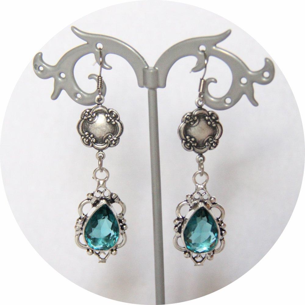 Boucles d'oreilles rétro baroque bleues avec pampille art déco argentée--9995848752642