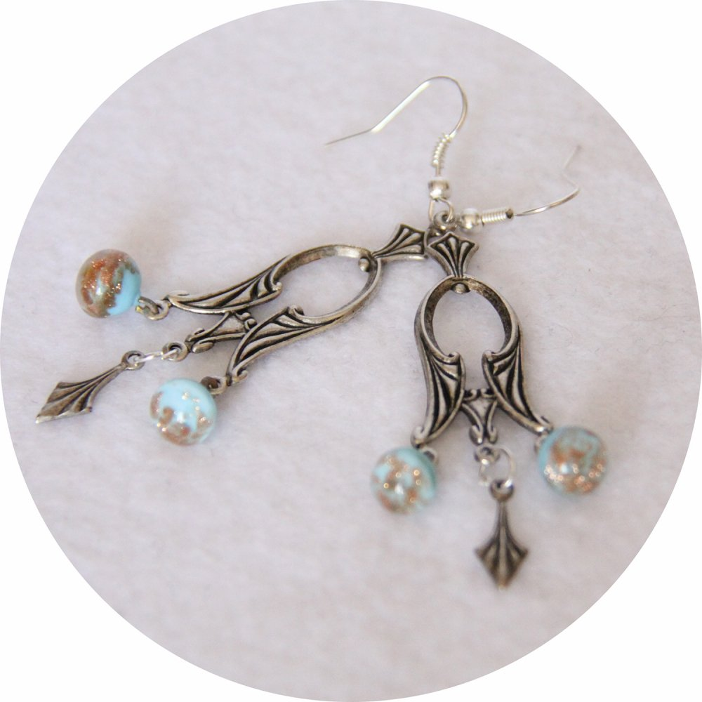 Boucles d'oreilles rétro baroque pampille art déco argentée et perles bleu et or--9995861149634