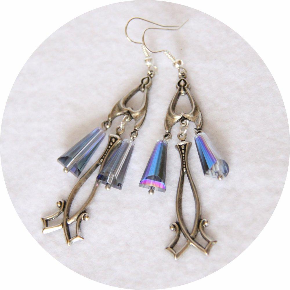 Boucles d'oreilles rétro art déco bleues avec pampille art déco argentée--9995856576131