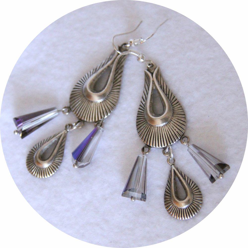 Boucles d'oreilles rétro art déco gouttes en cristal bleu avec pampilles art déco argentée--9995861124617