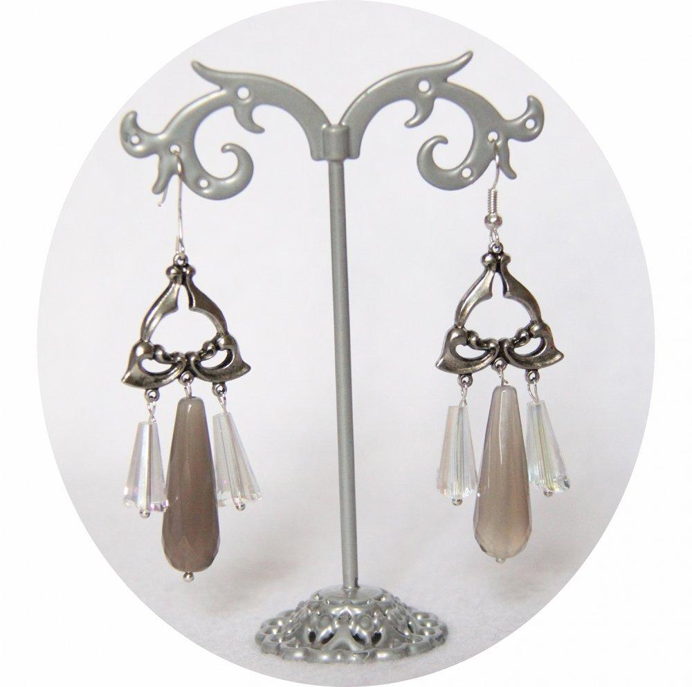 Boucles d'oreilles rétro art déco grises avec pampille art déco argentée--9995848744531