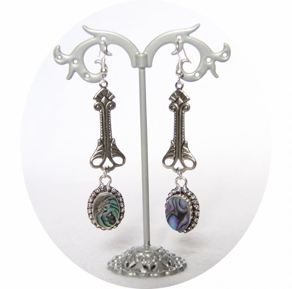 Boucles d'oreilles rétro art déco en nacre bleu vert avec pampille art déco argentée--9995848736246
