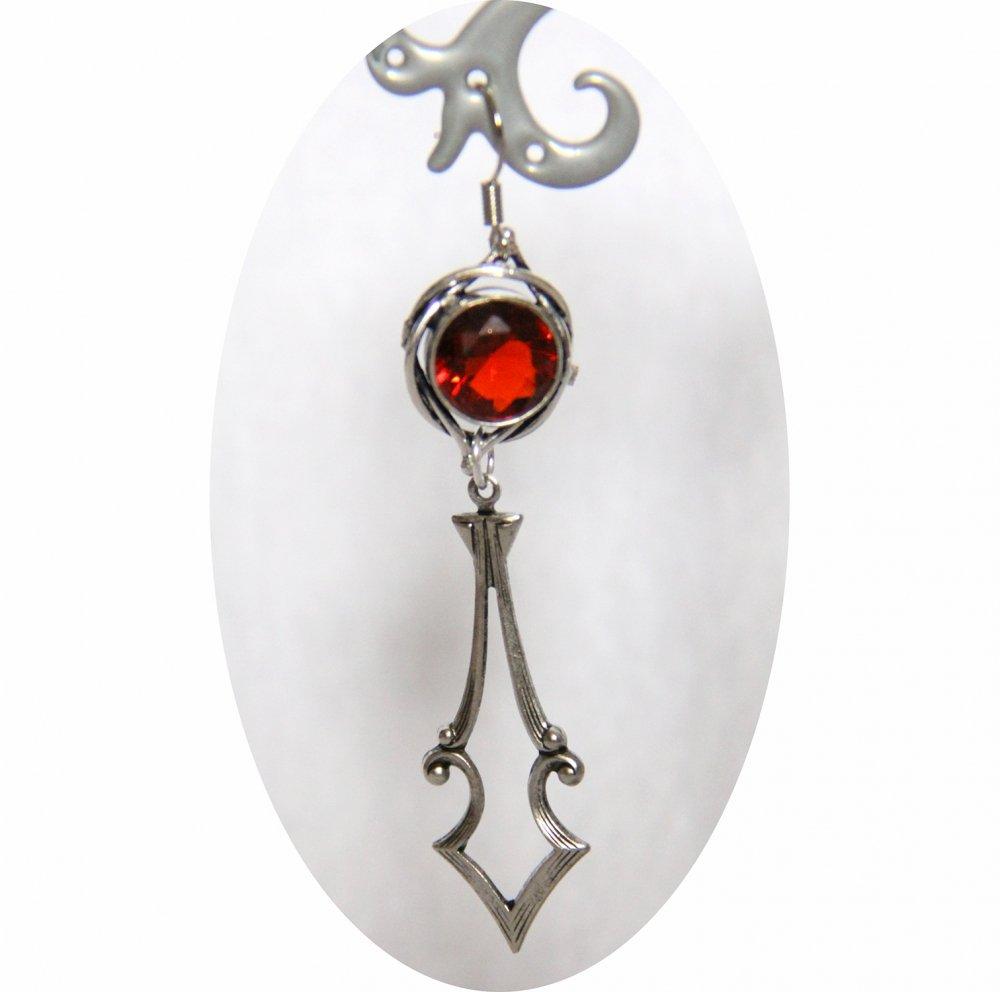 Boucles d'oreilles rétro art déco rouges avec pampille art déco argentée--9995848727947