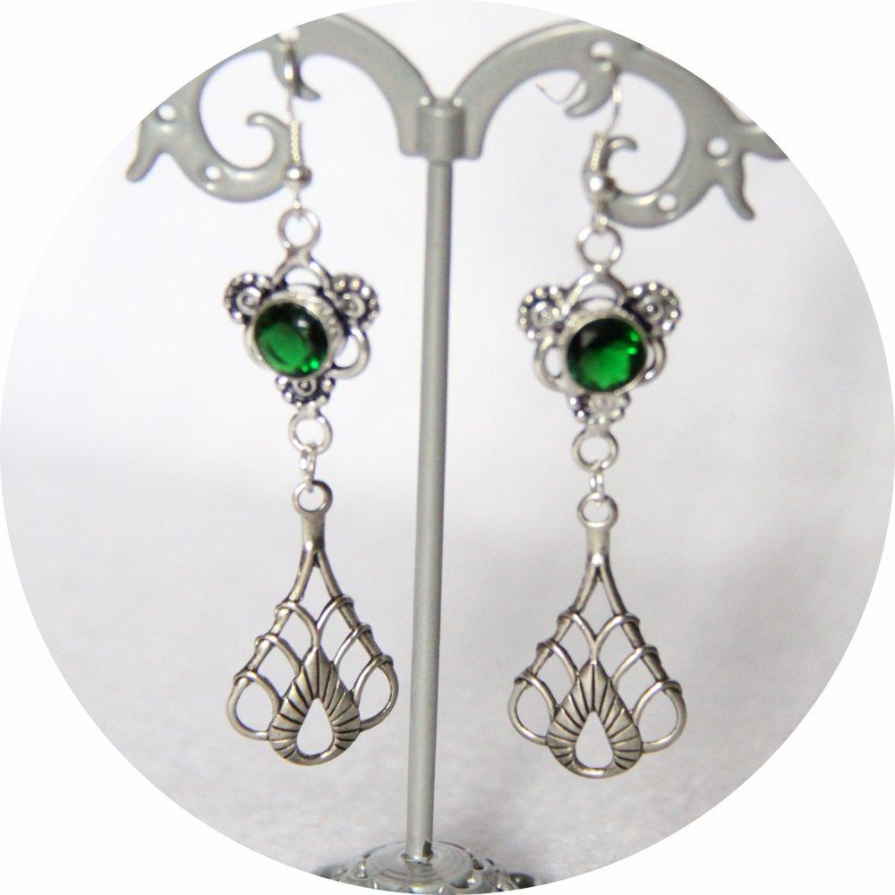 Boucles d'oreilles rétro art déco vert avec pampille art déco argentée--9995848733900