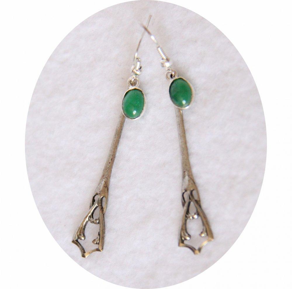 Boucles d'oreilles rétro art déco vertes avec pampille art déco argentée--9995856573772