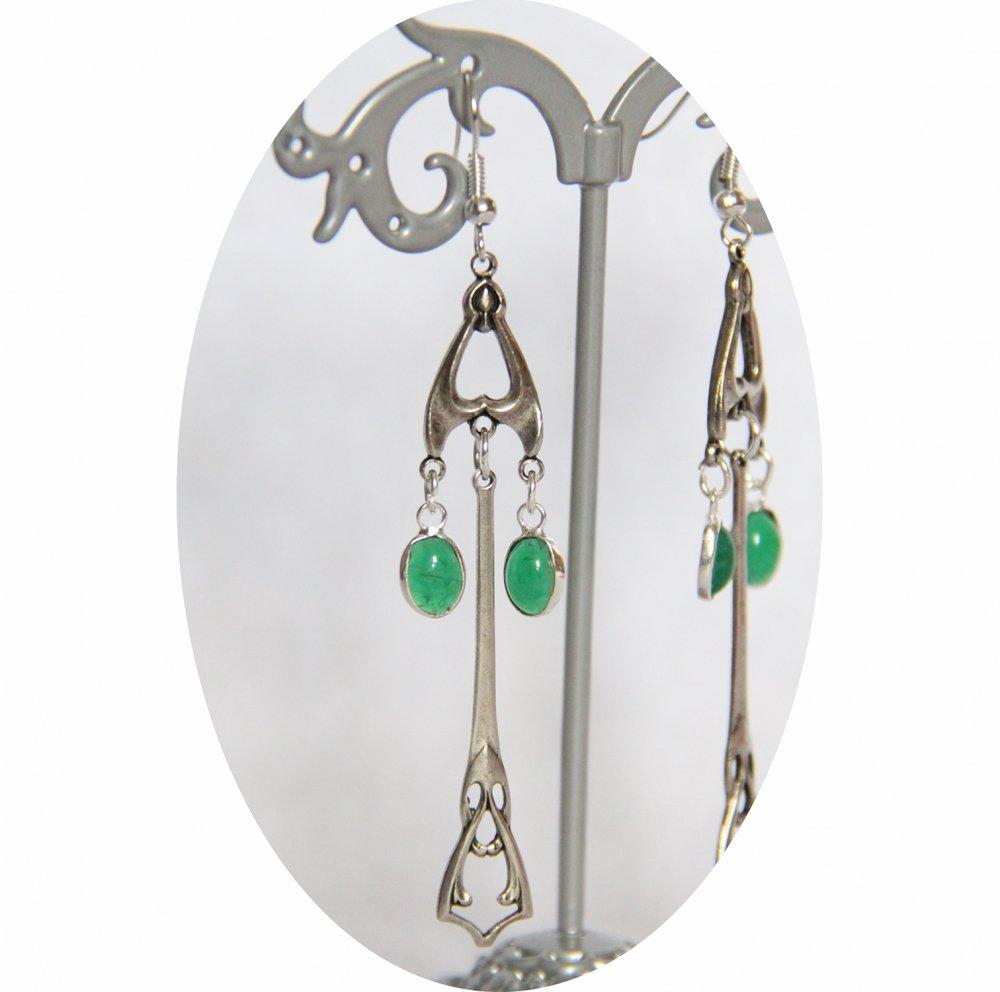Boucles d'oreilles rétro art déco vertes avec pampille art déco argentée--9995848738936