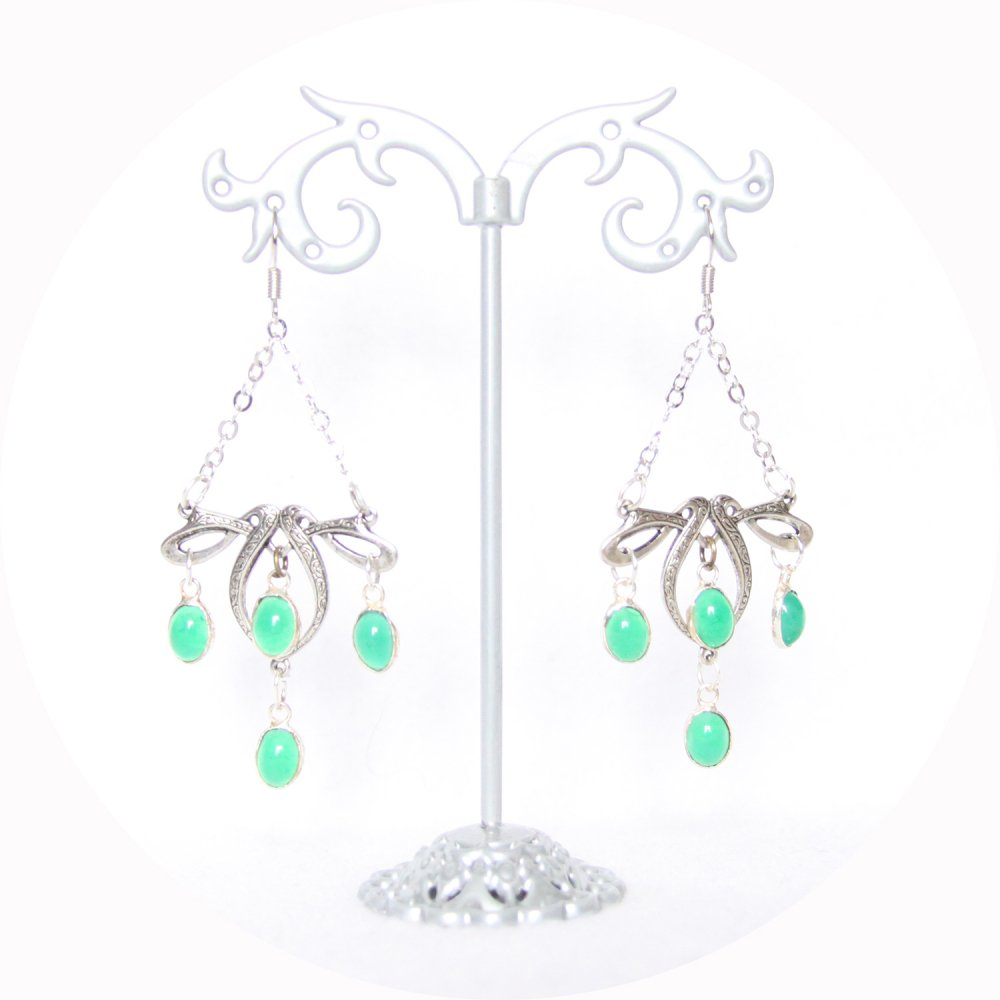 Boucles d'oreilles rétro art nouveau argent avec pampilles vertes--9995932380065