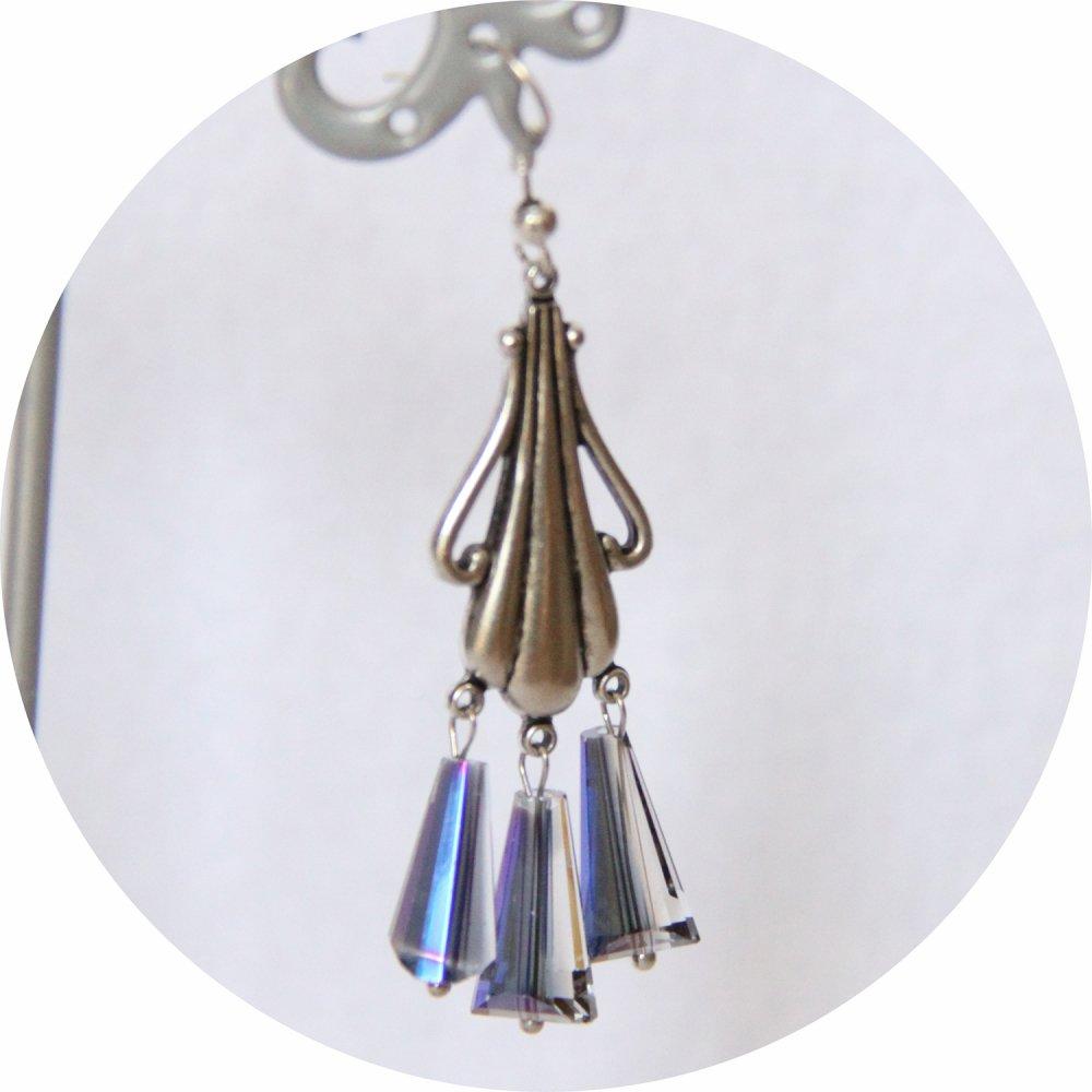 Boucles d'oreilles rétro Art Nouveau bleues goutte cristal pampille art nouveau argentée--9995860861384