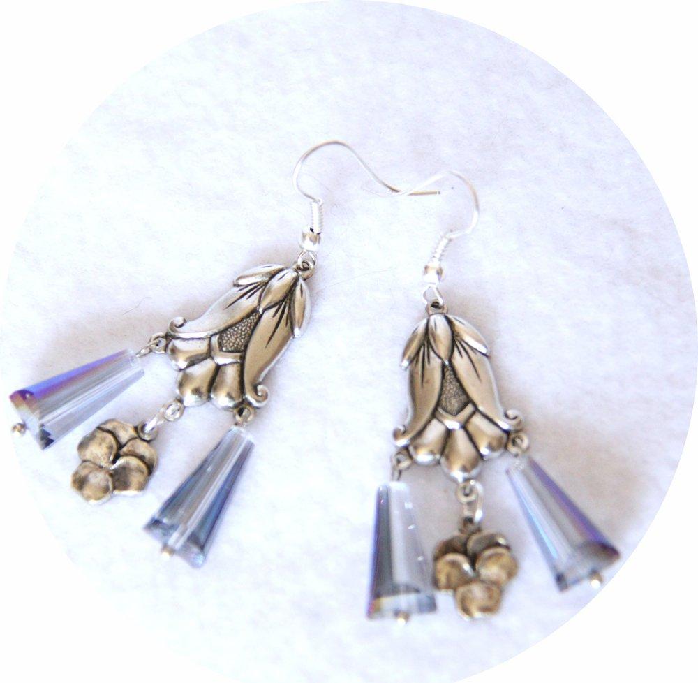 Boucles d'oreilles rétro Art Nouveau bleues goutte cristal pampille art nouveau tulipe argentée--9995860872366