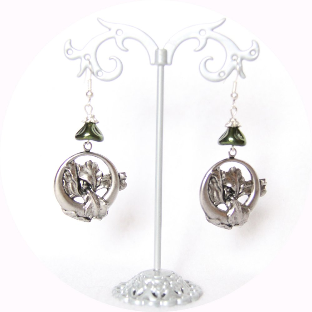 Boucles d'oreilles rétro art nouveau argent Iris--9995932390781
