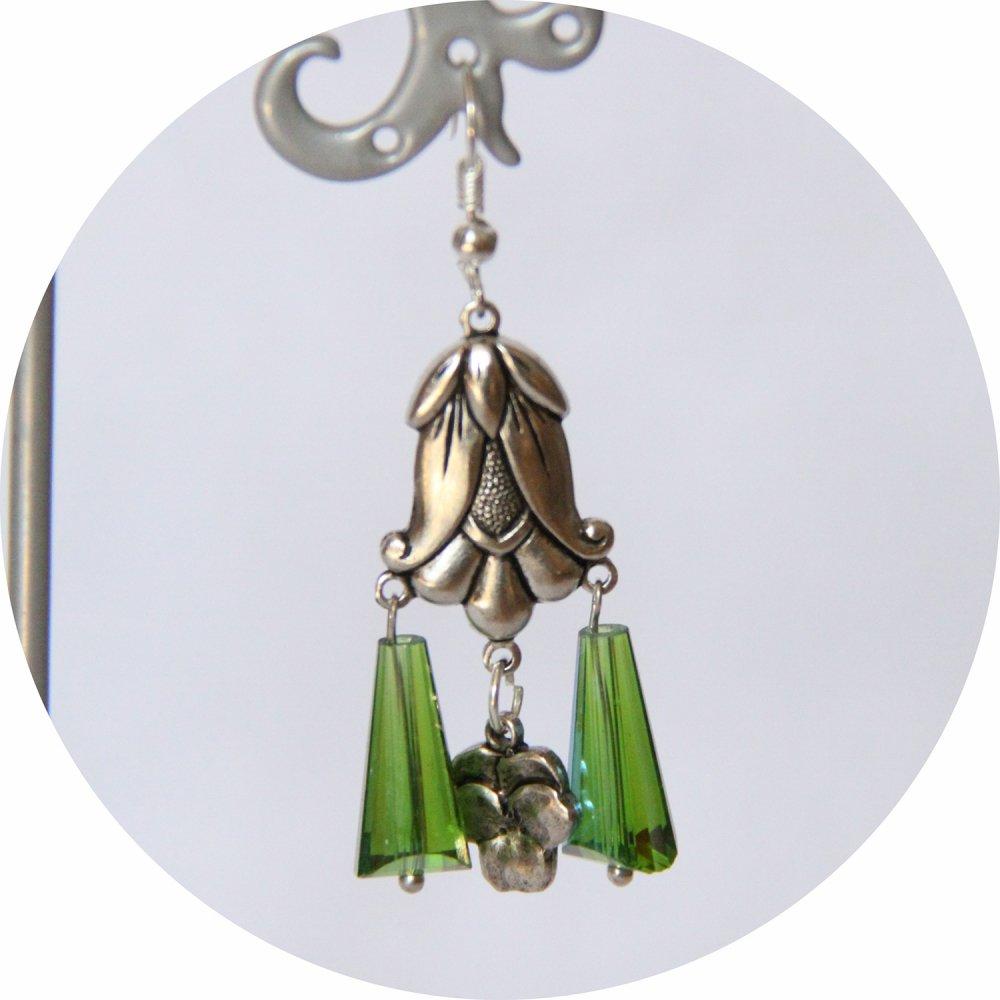 Boucles d'oreilles rétro Art Nouveau vertes goutte cristal pampille art nouveau tulipe argentée--9995860879068