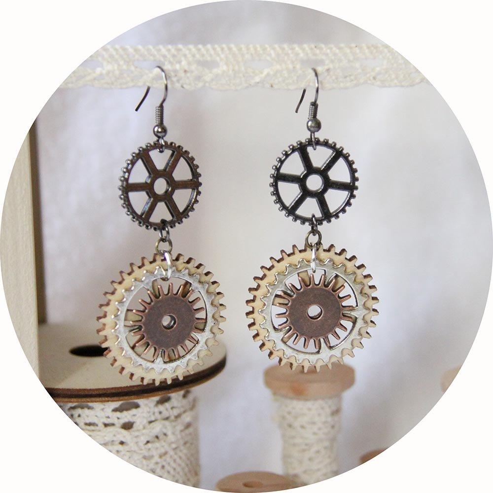 Boucles d'oreilles Steampunk bois et métal argent, cuivre et gunmetal--9995540615757