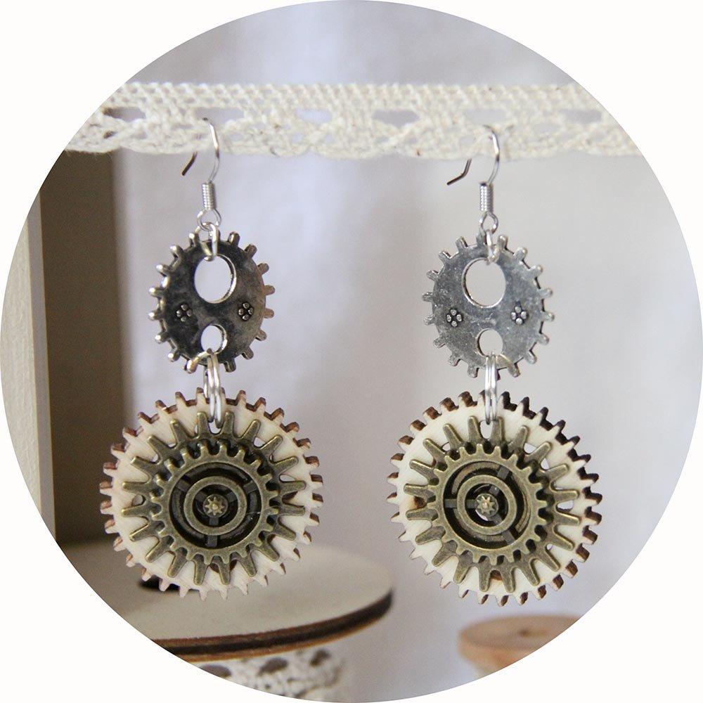 Boucles d'oreilles Steampunk bois et métal argent et bronze--9995540609053