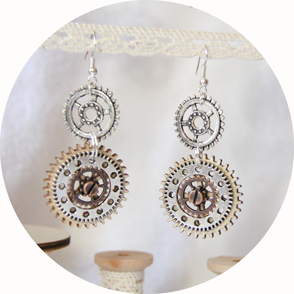 Boucles d'oreilles Steampunk bois et métal argent et cuivre--9995540599934
