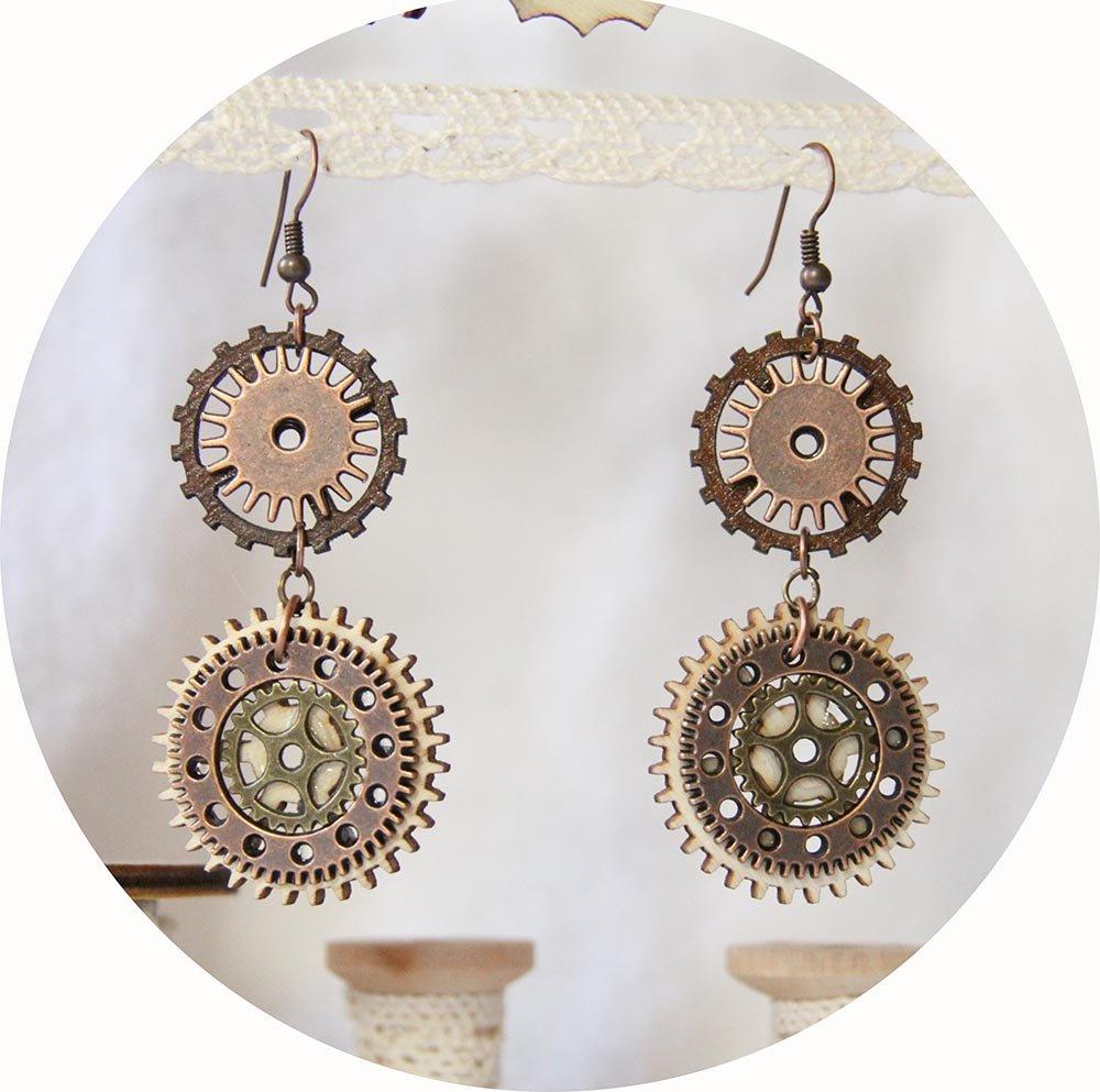 Boucles d'oreilles Steampunk bois et métal bronze--9995540590993