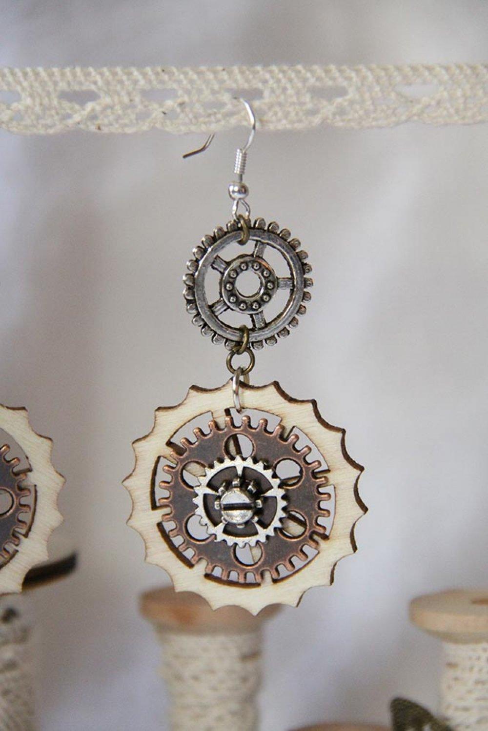 Boucles d'oreilles Steampunk bois et métal cuivre et argent--9995540604331