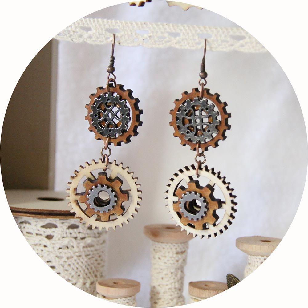 Boucles d'oreilles Steampunk bois et métal gris gunmetal--9995540618673