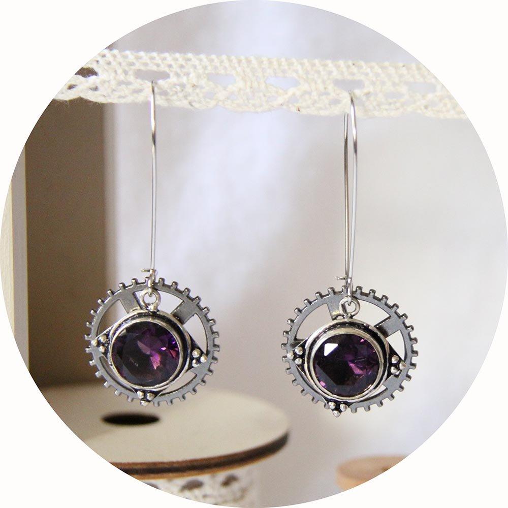 Boucles d'oreilles Steampunk rouage gunmetal et cristal mauve--9995540581113
