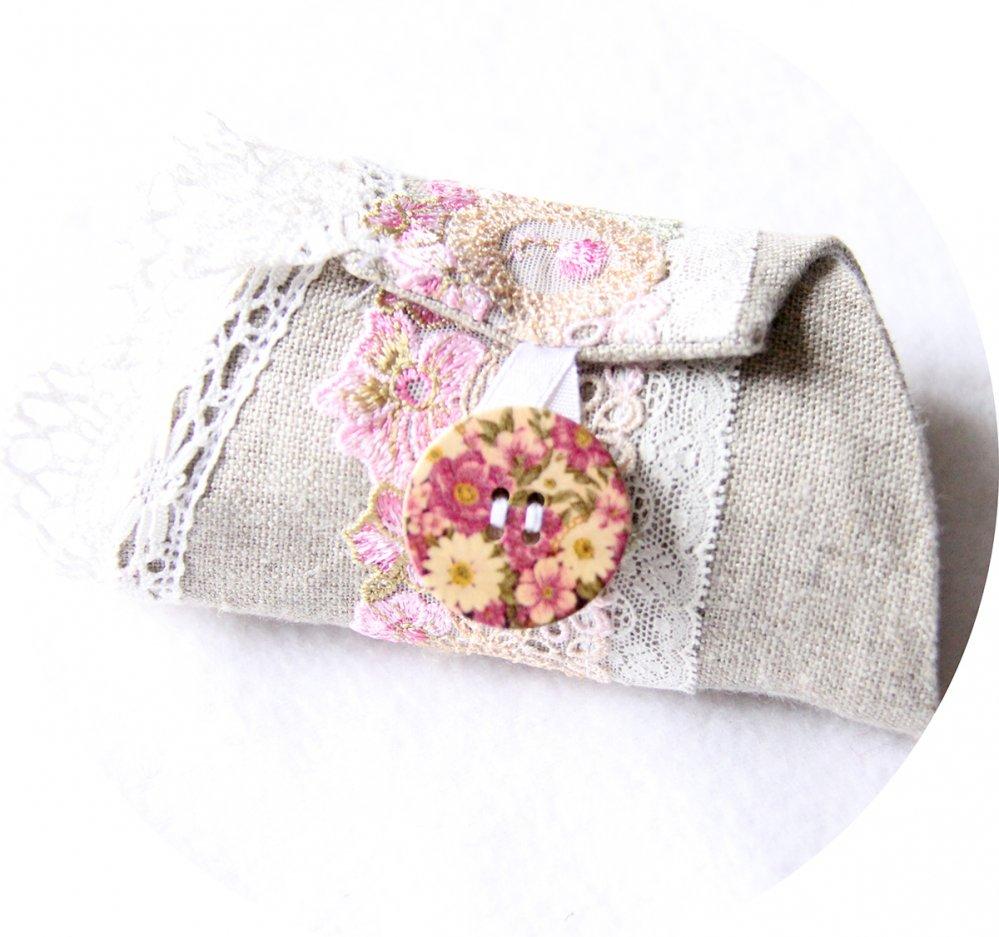 Bracelet manchette en lin beige et broderie fleurie rose--9996044812765