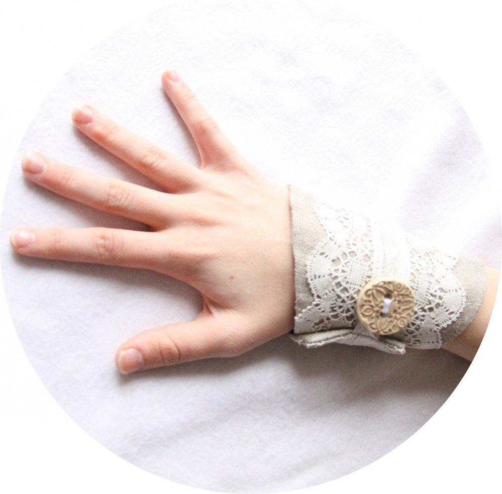 Bracelet manchette en lin beige et dentelle ancienne--9996044809116