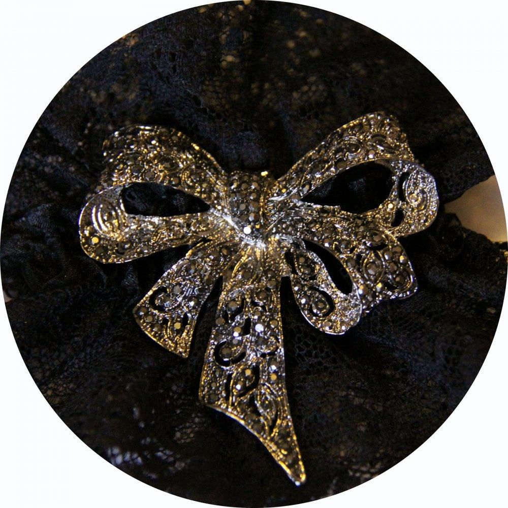 Bracelet manchette steampunk victorien en dentelle noire et broche noeud--9995866332475