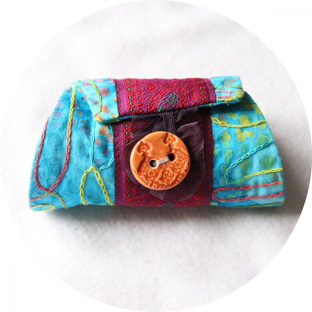 Bracelet manchette en tissu bleu turquoise à motifs colorés et ruban rose fuchsia--9996044820609