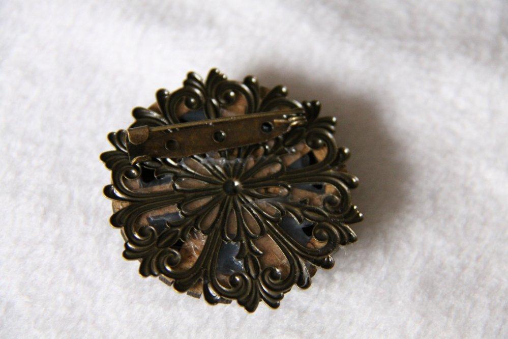 Broche médaillon rond Steampunk noir bois et bronze--9995942057551